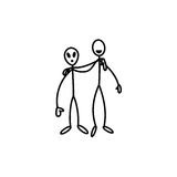 Stick figure man and alien Stock Photography
