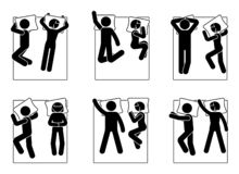 Free Stick Figure Man And Woman Laying In Bed Position Set. Different Sleeping Postures. Royalty Free Stock Photo - 132276585