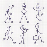 Stick figure of man with different poses. Of jumping, walking, running, standing, singing, sitting, akimbo and meditation. Hand drawn vector illustration Stock Photo