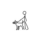 Stick figure man and dog icon. Stick figure man man and dog icon vector Royalty Free Stock Photography
