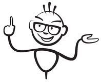 Stick figure man with glasses Fingers. Stickman vector drawing on white background Royalty Free Stock Images
