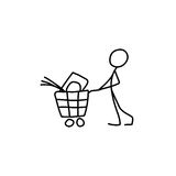 Stick figure man pushing shopping cart icon. Vector stock illustration