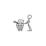 Stick figure man pushing shopping cart icon. Vector vector illustration