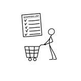 Stick figure man pushing shopping cart icon. Vector royalty free illustration