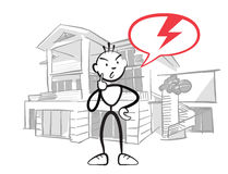 Stick figure man reports insurance damage to house. Stickman vector drawing on white background Royalty Free Stock Photos