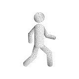 Stick figure man. Stick figure, silhouette of a walking person vector illustration isolated on white background, dot gradient Stock Photos
