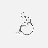 Stick figure man in wheelchair. Icon vector Stock Images