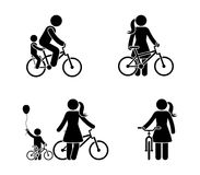 Stick figure man and woman bicycle icon. Riding bike happy people.