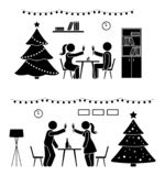 Stick figure man and woman at New Year party icon. Happy couple celebrating near tree pictogram. Stick figure man and woman at New Year party icon. Happy couple royalty free illustration