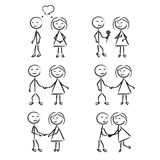 Stick Figure of men and women in motion. Stick Figure of a boy and girl in motion Stock Image