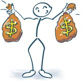 Stick figure with money bags with dollars. Stick figure with money bags with many dollars Royalty Free Stock Photography