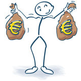 Stick figure with money bags full of euros Royalty Free Stock Image