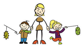 Stick figure mother holding two children with lantern by the hand. Vector drawing on white background Stock Images