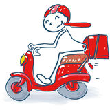 Stick figure with motor scooter. Stick figure with a little motor scooter royalty free stock photo
