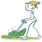 Stick figure mowing the lawn with the mower cutting grass Stock Image