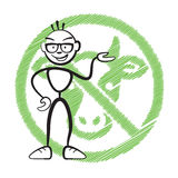 Stick figure no meat symbol Royalty Free Stock Images