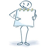 Stick figure with a note block Stock Photography