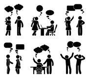 Stick figure office people speech bubble set. Vector illustration of talking coworkers on white Royalty Free Stock Photo
