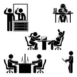 Stick figure office poses set. Business finance workplace support. Working, sitting, talking, meeting, training vector. Stick figure office poses set. Business stock illustration