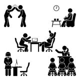 Stick figure office poses set. Business finance workplace support. Working, sitting, talking, meeting, training, discussing. Stick figure office poses set Stock Images