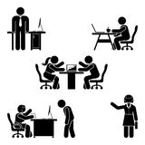 Stick figure office poses set. Business finance workplace support. Working, sitting, talking, meeting, training, discussing. Stick figure office poses set Royalty Free Stock Photography