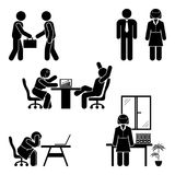 Stick figure office poses set. Business finance workplace support. Working, sitting, talking, meeting, training pictogram. Stick figure office poses set Stock Image