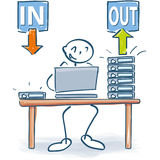 Stick figure at the office table with files in and out. Stick figure at the office table with files for in and out Stock Photo