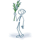 Stick figure with palm fronds Royalty Free Stock Photo