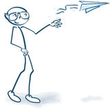 Stick figure with a paper airplane. Stick figure with a little paper airplane Royalty Free Stock Photos