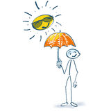 Stick figure with parasol in the sun. Stick figure with parasol under the strong sun Stock Photos