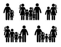 Stick figure parents and children icon set. Big happy family black pictogram.
