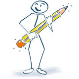 Stick figure with a pen. At workplace Stock Photo