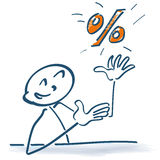 Stick figure with percentages Royalty Free Stock Photo