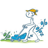 Stick figure and percentages lawn mower Royalty Free Stock Photography
