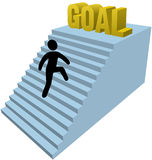 Stick figure person climb steps achieve goal. Person climbs stair steps to achieve success goal royalty free illustration