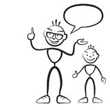 Stick figure persona man with child. And speech bubble Stock Image