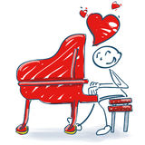 Stick figure at a piano and a love song. Stick figure at a piano and a lovely song Royalty Free Stock Photography