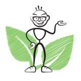 Stick figure with plant symbol Stock Photos