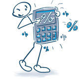 Stick figure with a pocket calculator and percentages Stock Photo