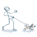 Stick figure with pooch. And little dog Stock Photography