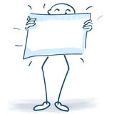 Stick figure with a poster in front of the body Royalty Free Stock Image