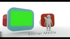 Stick figure presenting social media symbols Royalty Free Stock Photo