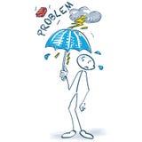 Stick figure with problems and umbrella. Stick figure with problems and little umbrella stock images