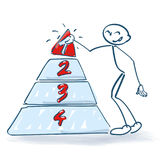 Stick figure with a pyramid and numbers. Stick figure with a pyramid and big numbers Royalty Free Stock Images