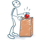 Stick figure with a red button and start. For the startup Royalty Free Stock Image