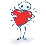 Stick figure with a red heart Stock Images
