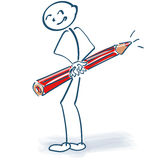 Stick figure with red pencil behind the back. Stick figure with a red pencil behind the back royalty free stock image