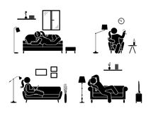 Stick figure resting at home position set. Sitting, lying, listening to music, using laptop, drinking wine vector icon relaxing woman posture on sofa and Stock Images