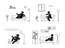Stick figure resting at home position set. Sitting, lying, reading book, listening to music, using laptop, drinking wine vector. Stick figure resting at home Stock Images