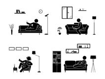 Stick figure resting at home position set. Sitting, lying, reading book, listening to music, using laptop, drinking wine vector. Stick figure resting at home Stock Photography